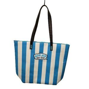 Ron Jon Surf Shop Blue Striped Beach Bag Tote